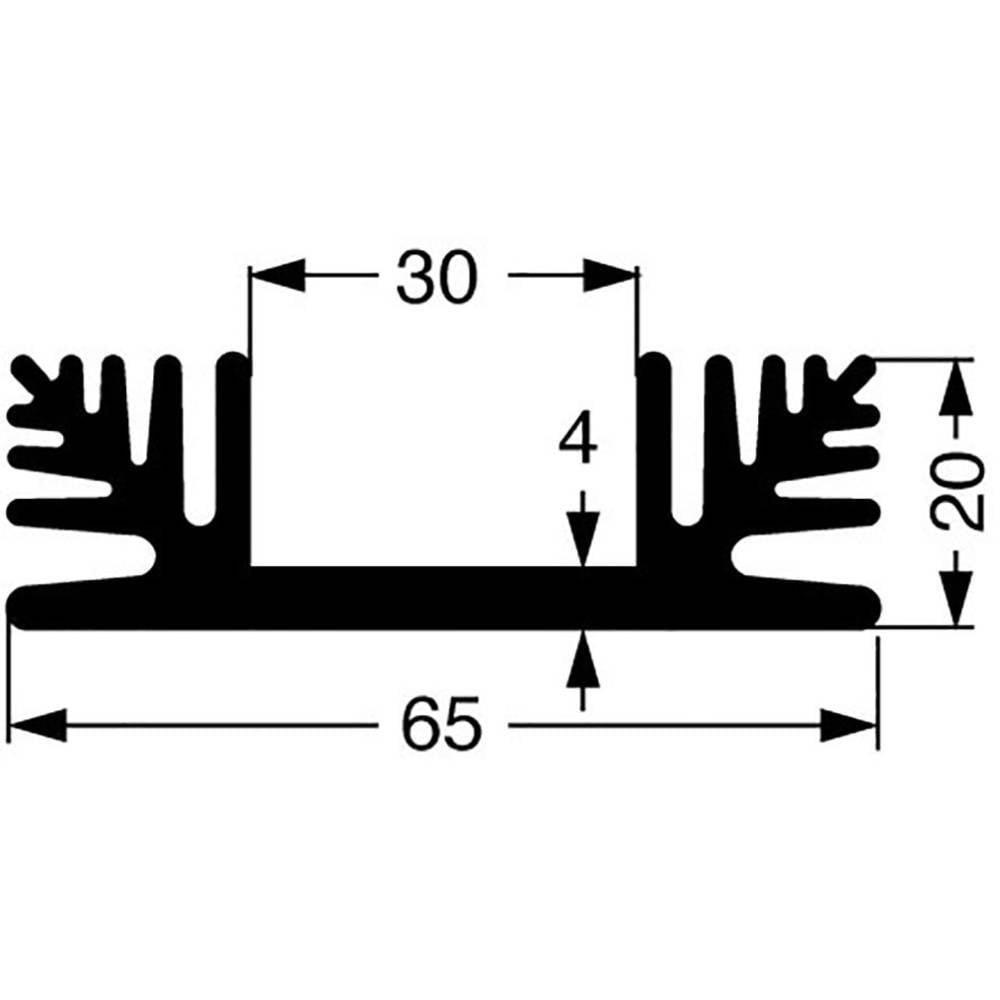 Kølelegemer 2.2 K/W (L x B x H) 100 x 65 x 20 mm Fischer Elektronik SK 48 100 SA