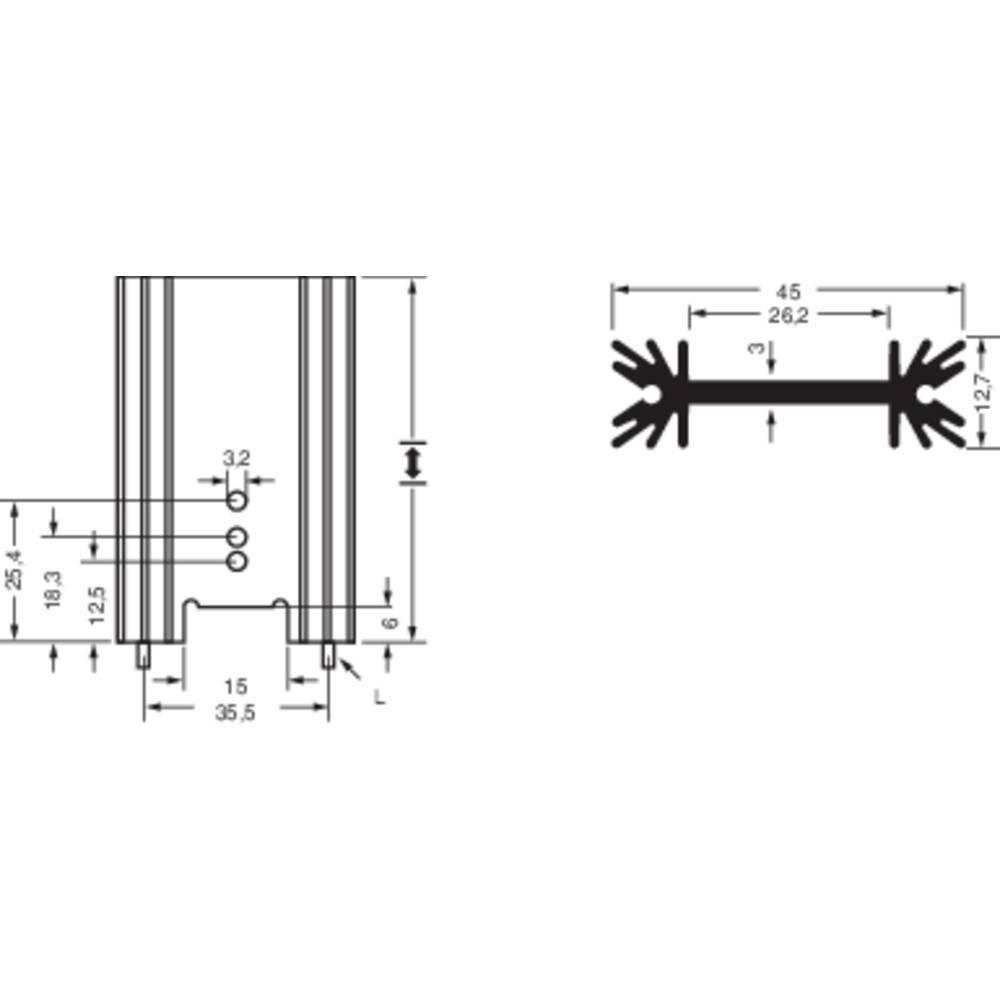 Profilkølelegeme 6.2 K/W (L x B x H) 50.8 x 45 x 12.7 mm TO-220 , TO-218 , TO-3P Fischer Elektronik SK 409 50,8 STS