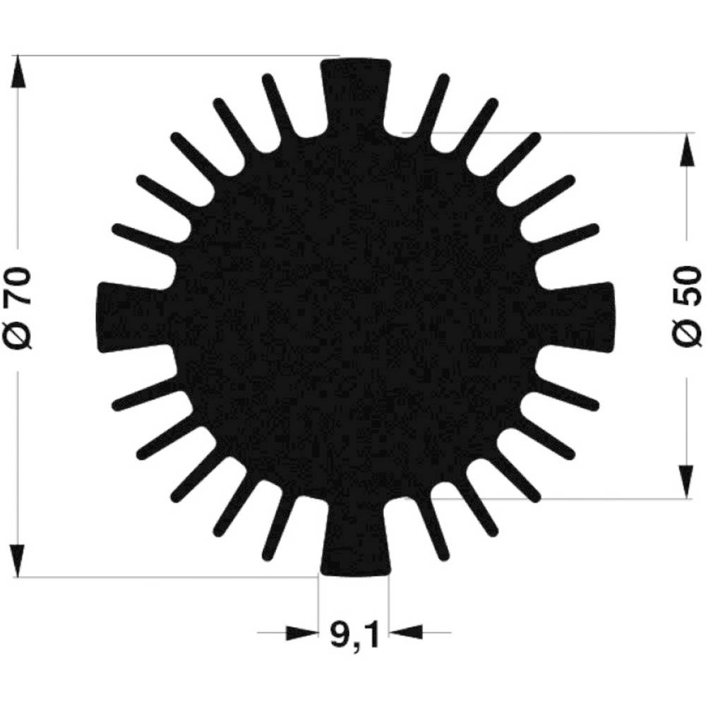LED-kølelegemer 1.77 K/W (Ø x H) 70 mm x 25 mm Fischer Elektronik SK 570 25 SA