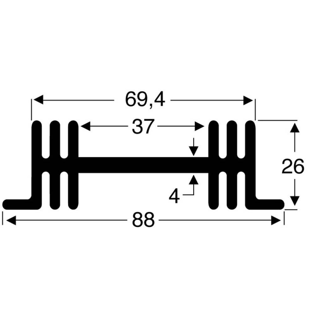 Kølelegemer 3.8 K/W (L x B x H) 50 x 88 x 26 mm Fischer Elektronik SK 36 50 SA