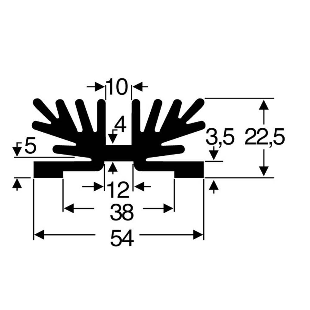 Kølelegemer 3.5 K/W (L x B x H) 54 x 37.5 x 22 mm SOT-32 Fischer Elektronik SK 65 37,5 SA-1 X M3