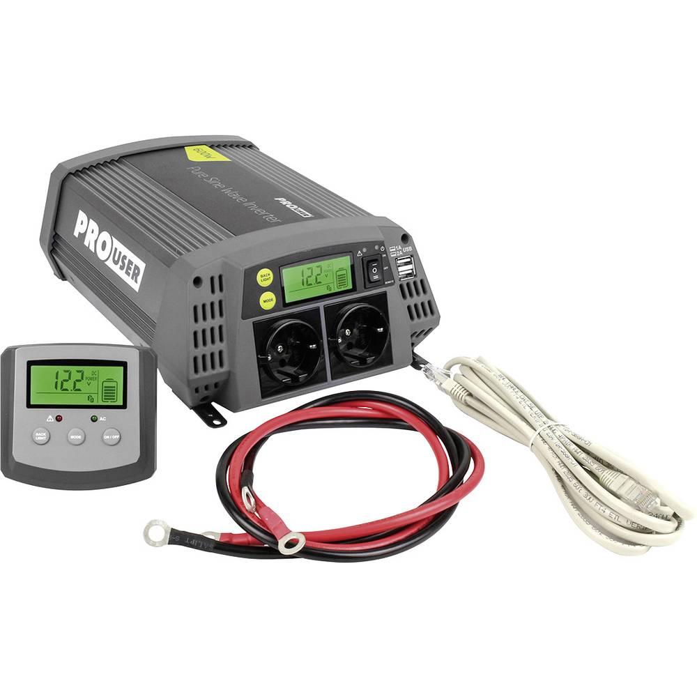 Razsmernik ProUser Sinus PSI600 600 W 10.5 do15.3 V - 230 V/AC, 5.2 V/DC Vključuje daljinski upravljalnik
