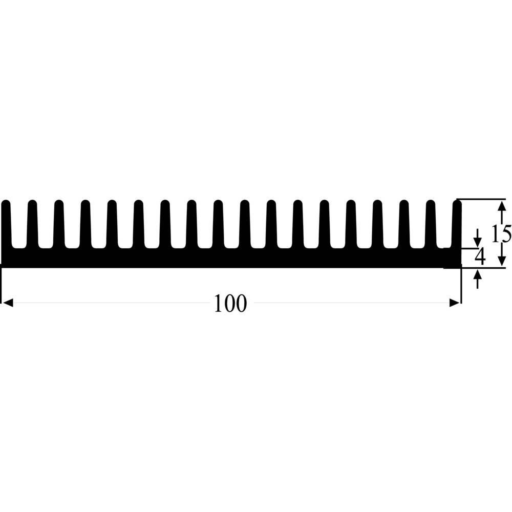 Profilno hladilno telo 2 K/W (D x Š x V) 100 x 100 x 15 mm Fischer Elektronik SK 81 100 SA