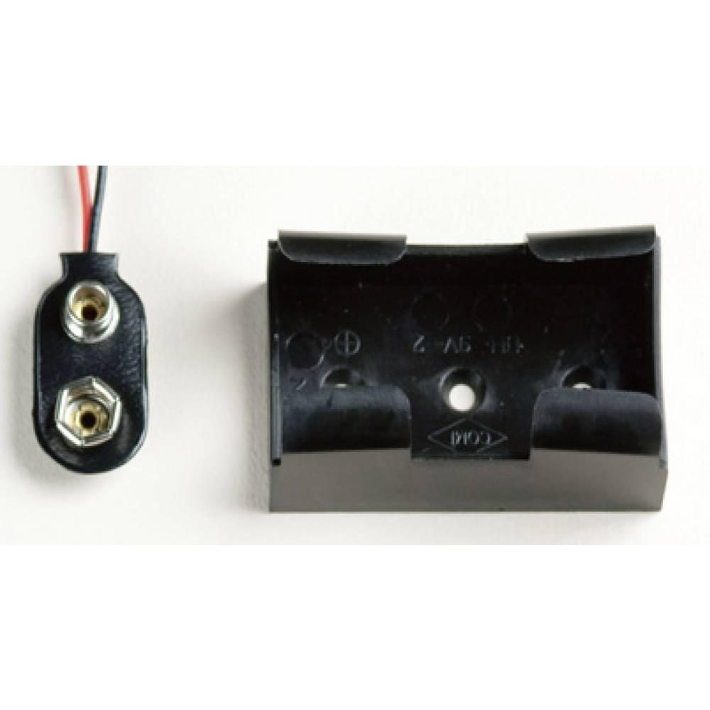 Nosilec baterij 1x 9 V blok Hitrosklopni priključek, Kabel (D x Š x V) 49.3 x 29.2 x 20 mm Takachi BH9V2