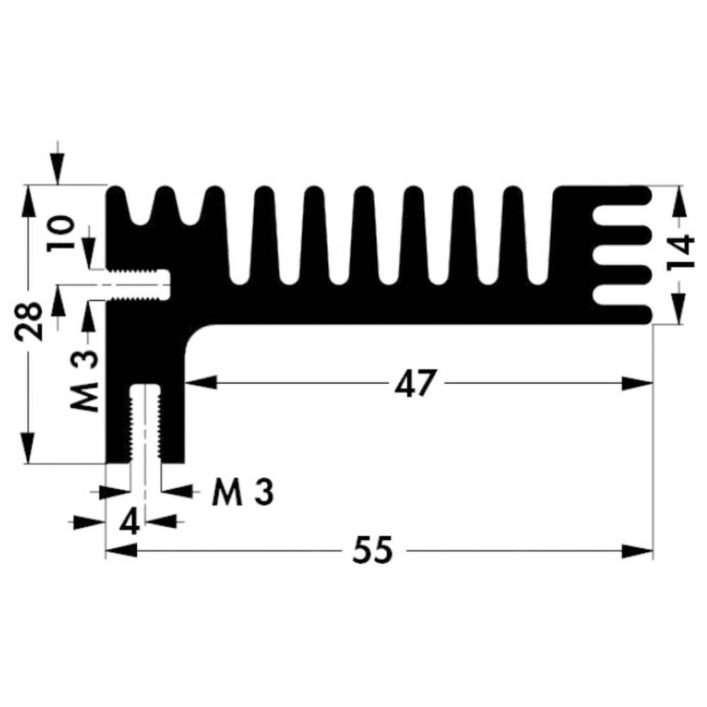 Hladilno telo 3.8 K/W (D x Š x V) 84 x 55 x 28 mm TO-220, TOP-3 Fischer Elektronik SK 96 84 SA