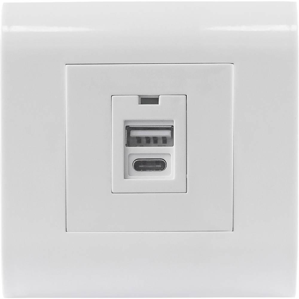 2 kratni Polnilna USB-vtičnica IP20 Bela Intellinet 772198