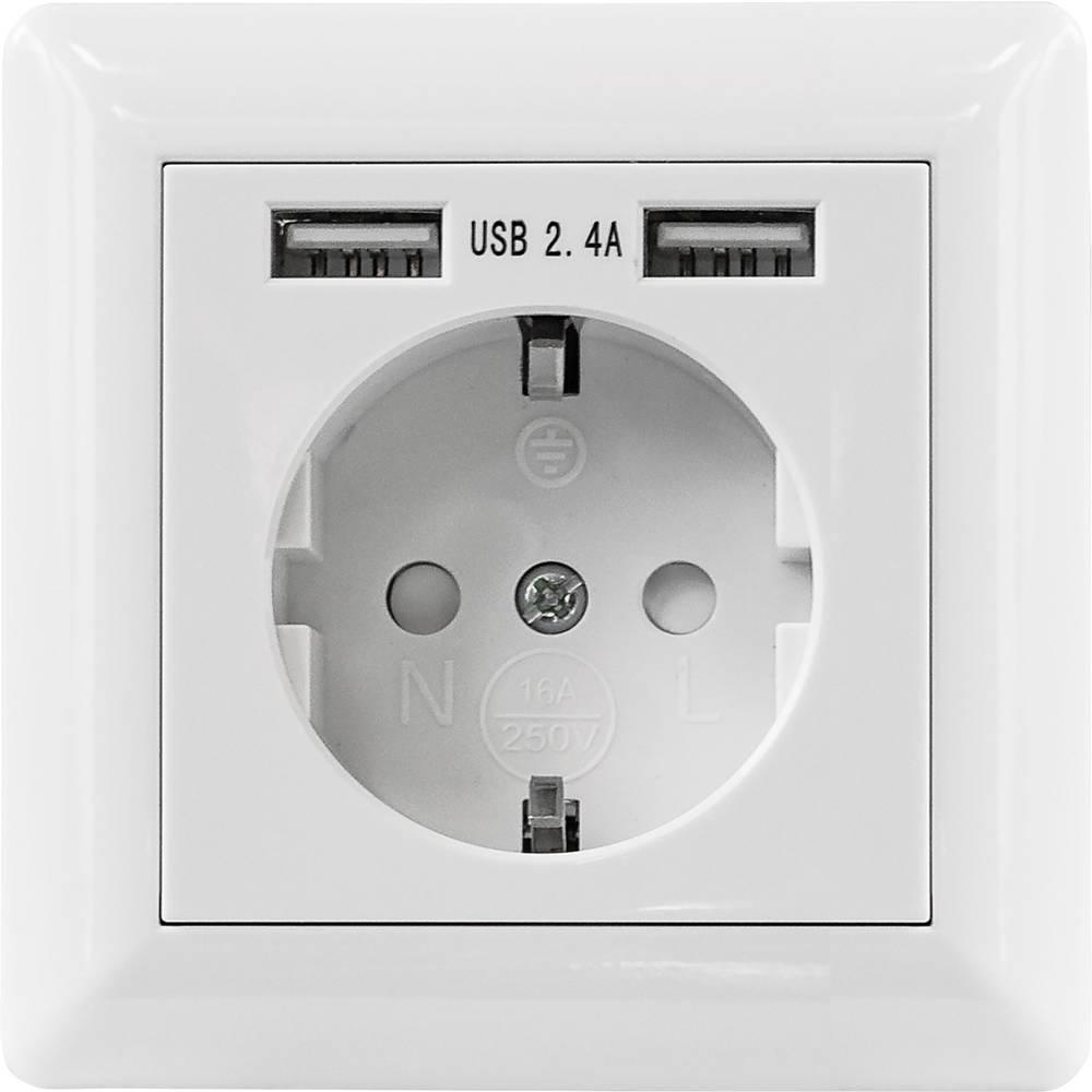 2 kratni Polnilna USB-vtičnica IP20 Bela Intellinet 772174