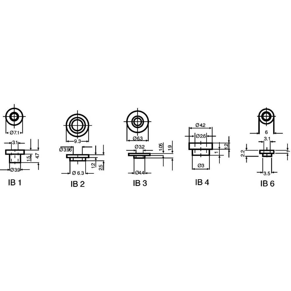 Isoleringsbøsning 1 stk IB 1 Fischer Elektronik Udvendig diameter: 3.9 mm, 7.1 mm Indvendig diameter: 3.1 mm