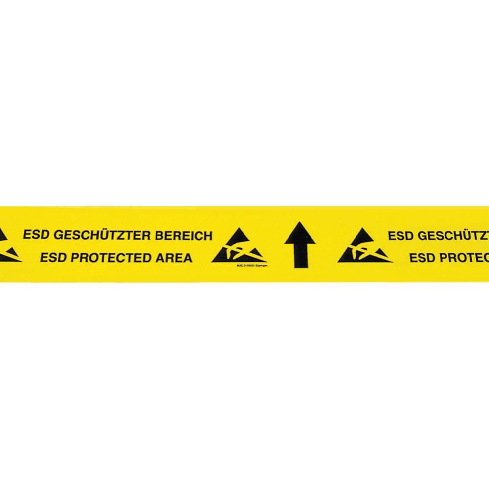 ESD lepilni trak, 1 kos rumene, črne barve (D x Š) 15 m x 70 mm BJZ C-195 075