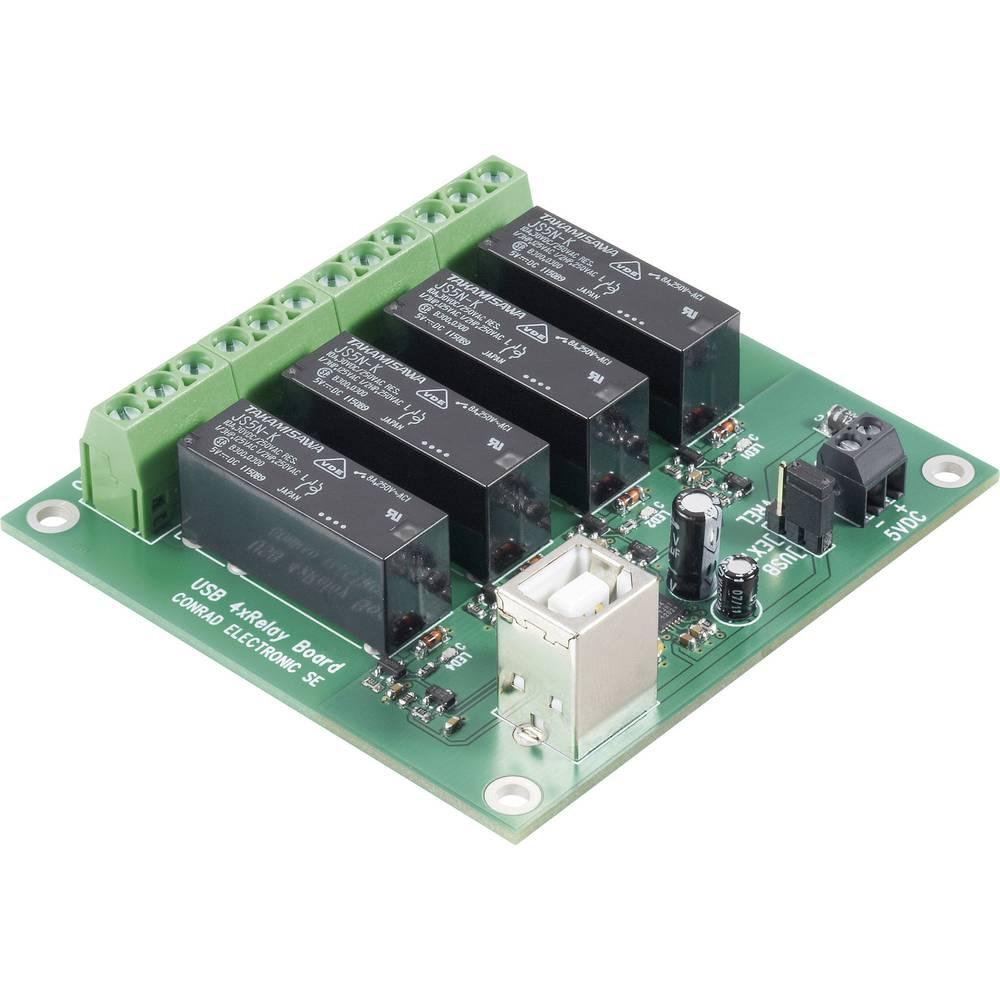 4-kanalna USB relejna kartica Conrad, obratovalna napetost 5 V/DC, izhodna moč 8 A/24 V/DC