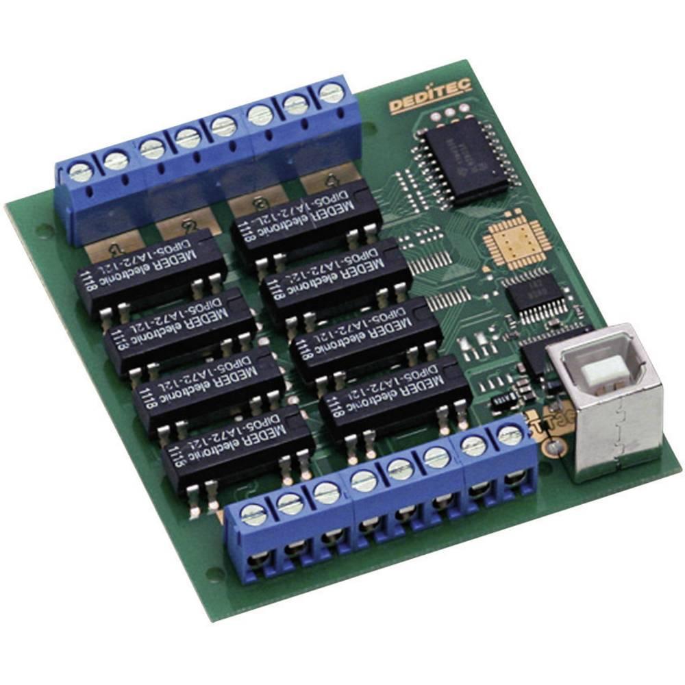 Deditec-USB modul, USB Sučelje, kompaktan, digitalni, relejnih izlaza 8, vijčana montaža USB-RELAIS-8_A