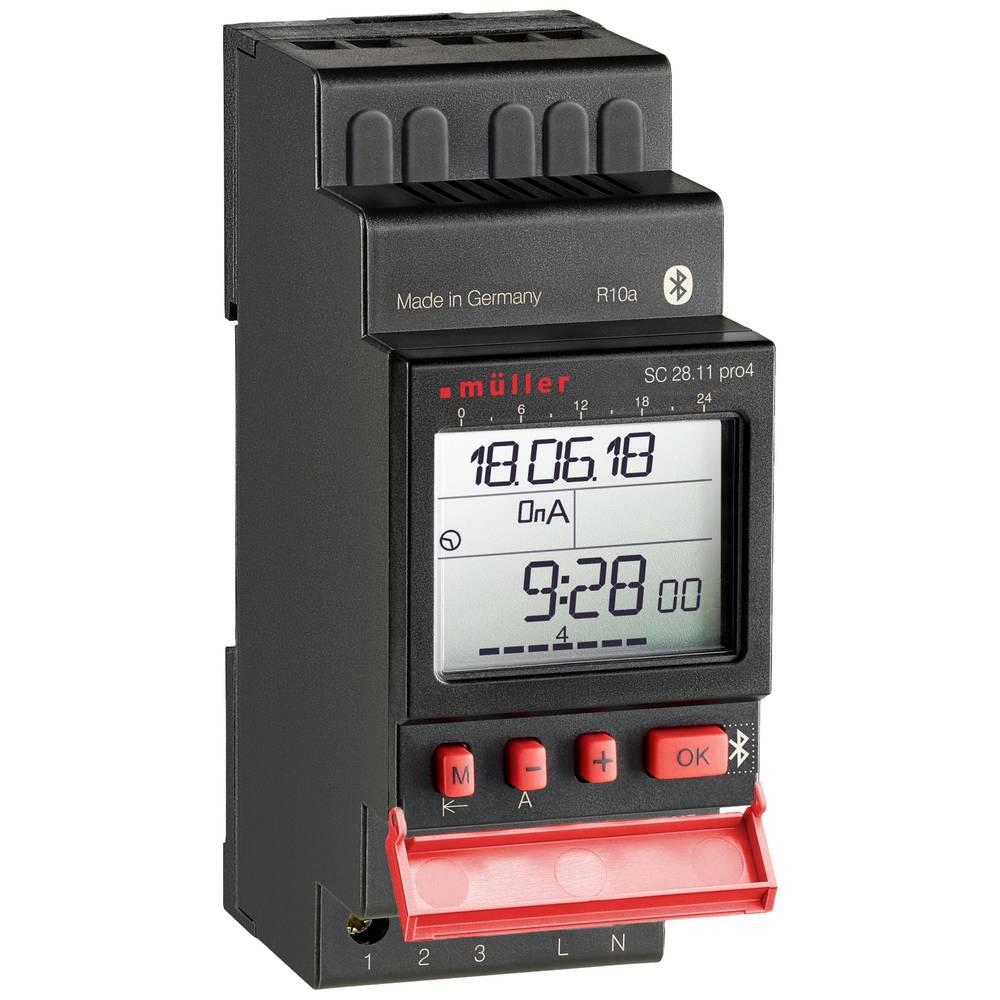 Stikalna ura za vodila, digitalna Müller SC 28.11 pro 12 V/DC, 12 V/AC 16 A/250 V