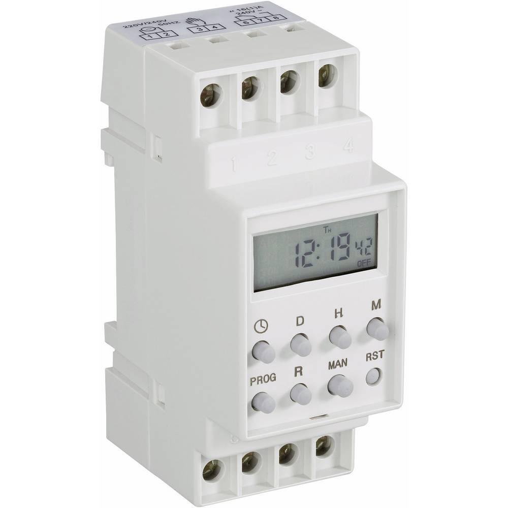 Uklopni sat za montažu na profilne šine, digitalni, CE 230 V/AC 16 A/250 V