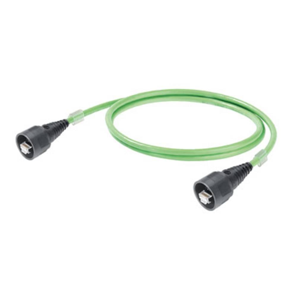 RJ45 omrežni priključni kabel CAT 5, CAT 5e SF/UTP [1x RJ45-vtič - 1x RJ45-vtič] 5 m zelen negorljiv