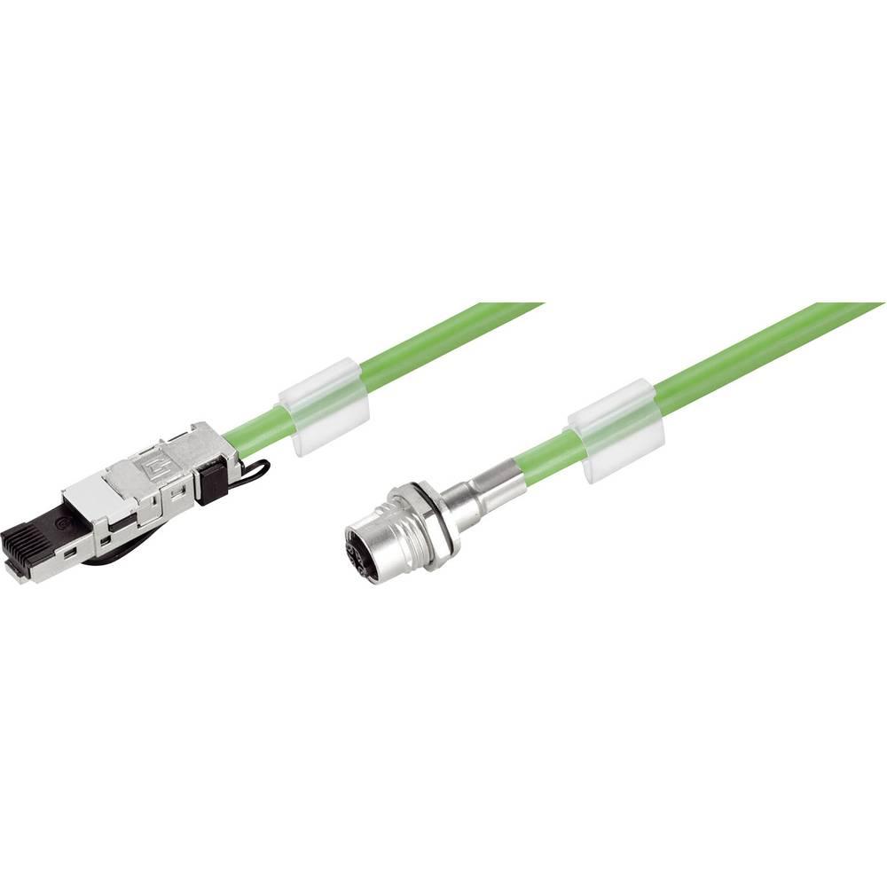 RJ45 / M12 Omrežni priključni kabel CAT 5, CAT 5e S/UTP [1x M12 vtič - 1x RJ45 vtič] 2 m zelene barve, negorljiv