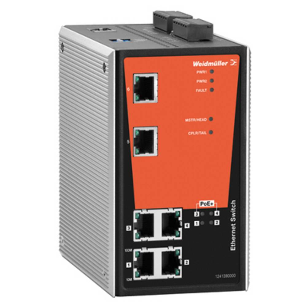 Omrežno stikalo, upravljalno Weidmüller IE-SW-PL06MT-2TX-4POE število Ethernet vrat 2