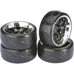 Komplet koles za cestni model Absima, 1:10, profil Drifter A, satasta platišča, črna/krom, 4 kosi