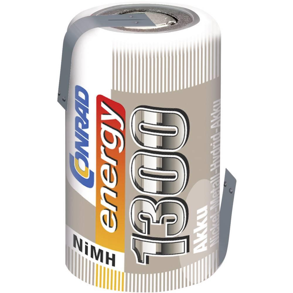 Conrad energy NiMH-akumulator2/3 AF-enojna celica 1.2 V / 1300 mAh Spajkalni priključek: