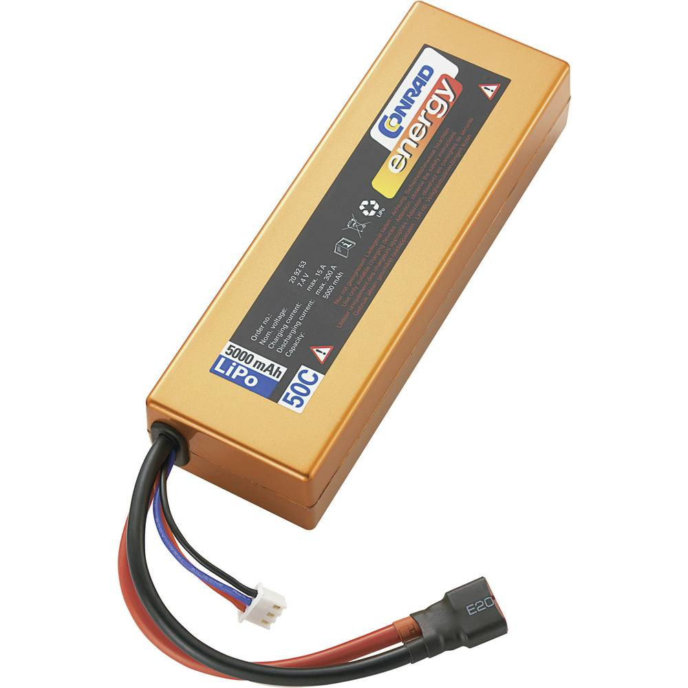Modelarstvo - akumulatorski paket (LiPo) 7.4 V 5000 mAh 50 C Conrad energy Box Hardcase T-vtičnica