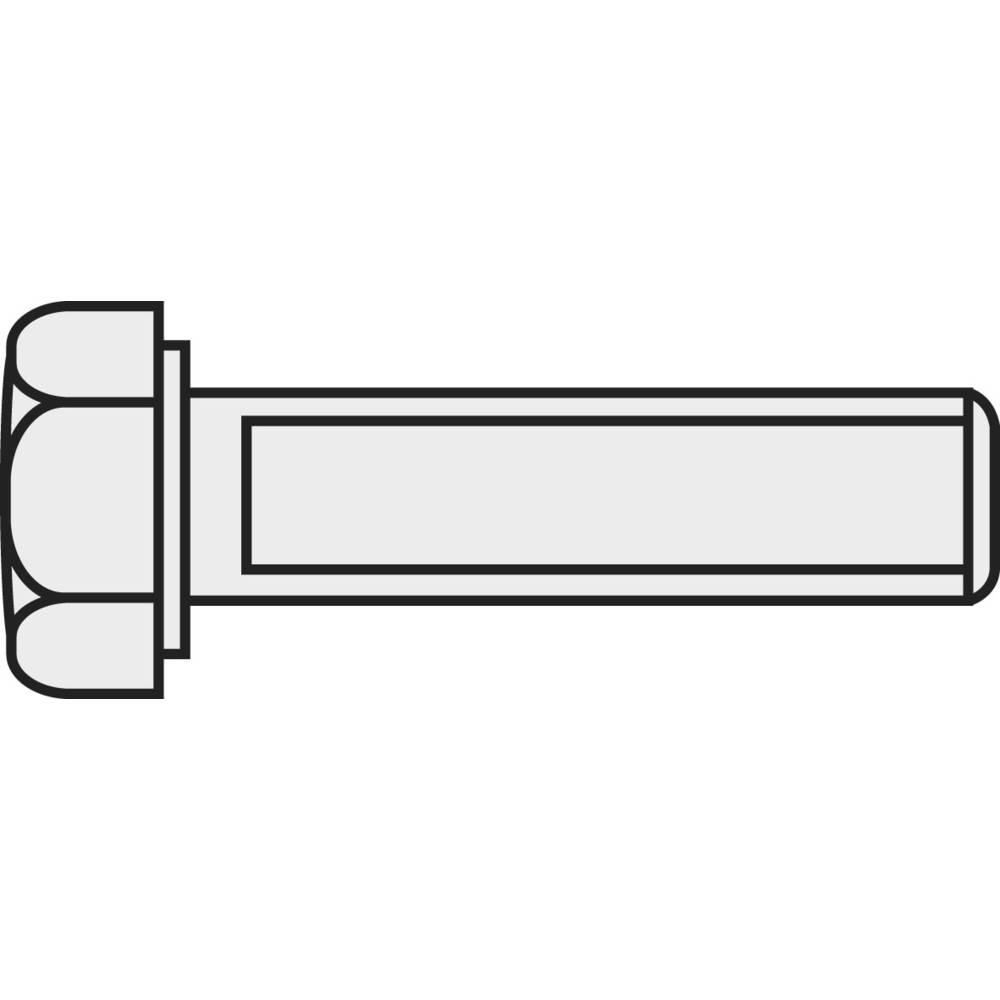 Šestrobi vijak M3 16 mm zunanji šestrobi DIN 933 medenina 10 kosov TOOLCRAFT 222525