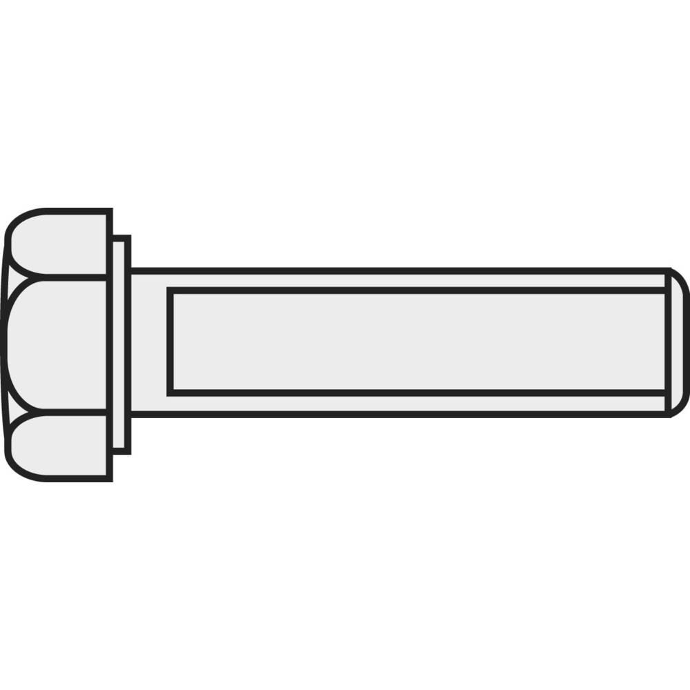 Šestrobi vijak M1.6 10 mm zunanji šestrobi DIN 933 medenina nikljano 10 kosov TOOLCRAFT 222530