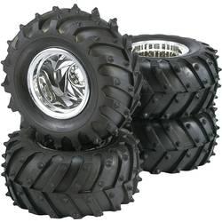 Komplet koles za modele Monstertruck, Reely, 1:10, traktorski profil, 5 naper, krom, 4 kosi