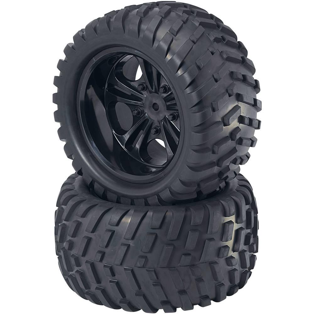 Komplet koles za modele Monstertruck, Reely, 1:5, profil V-Block, 5 dvojnih naper, črna, 2 kosa