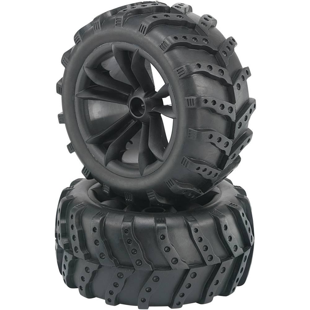 Komplet koles za modele Monstertruck, Reely, 1:10, profil Extreme, 5 dvojnih naper, črna, 2 kosa