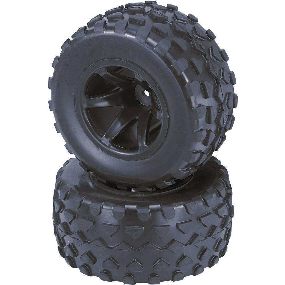 Komplet koles za modele Truggy, Reely, 1:10, profil Rhombo, 6 naper, črna, 1 par