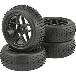 Komplet koles za modele Buggy, Reely, 1:10, profil Spike, 5 dvojnih naper, črna, 4 kosi