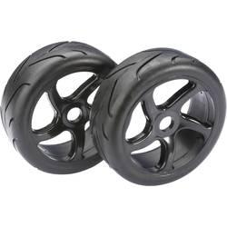 Absima 1:8 Buggy Kompletno kolesje s 5-krakimi črnimi platišči, cestni profil pnevmatik 2530001