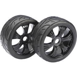 Absima 1:8 Buggy Kompletno kolesje s 6-krakimi črnimi platišči, cestni profil pnevmatik 2530003