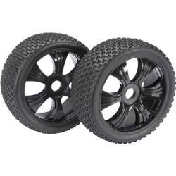 Absima 1:8 Buggy Kompletno kolesje s 6-krakimi črnimi platišči, 3-Pin profil pnevmatik 2520011