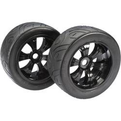 Absima 1:8 Buggy Kompletno kolesje s 6-krakimi črnimi platišči, cestni profil pnevmatik 2530006