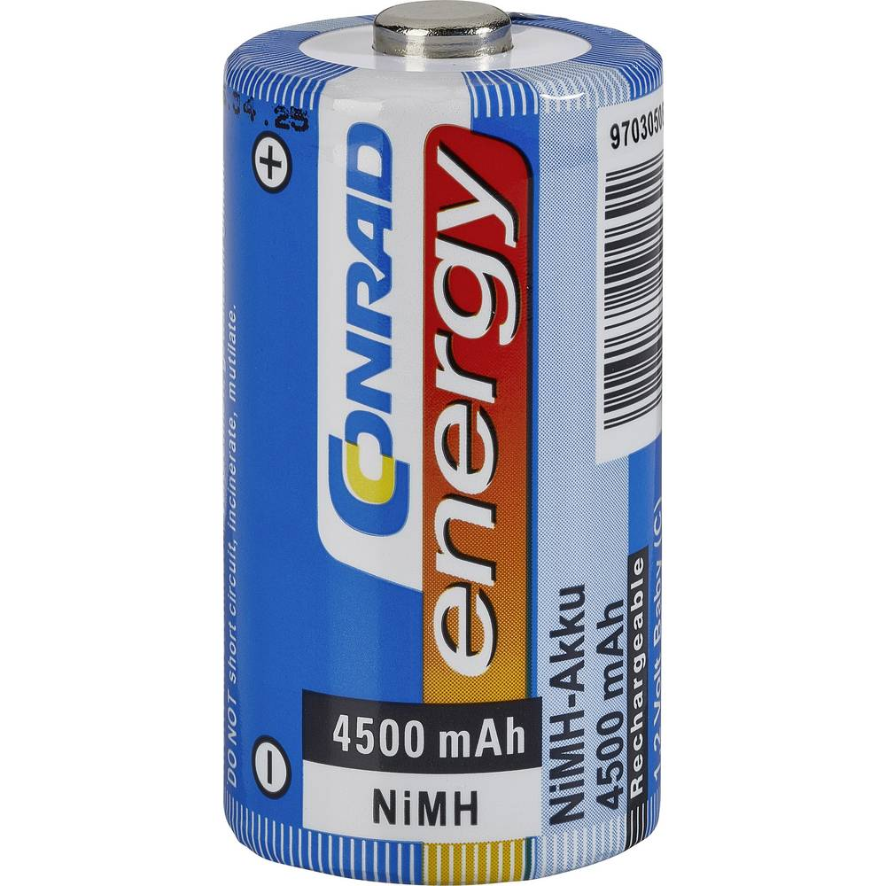 Laddbart batteri R14 (C) NiMH Conrad energy HR14 4500 mAh 1.2 V 1 st