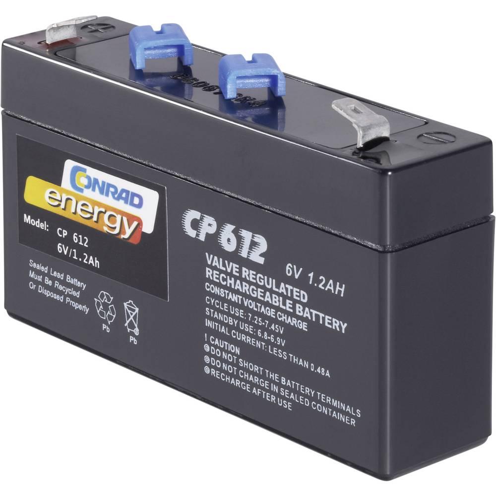Svinčev akumulator 6 V 1.2 Ah Conrad energy CE6V/1,2Ah 250091 svinčevo-koprenast (AGM) 97 x 51 x 25 mm ploščati vtič 4.8 mm