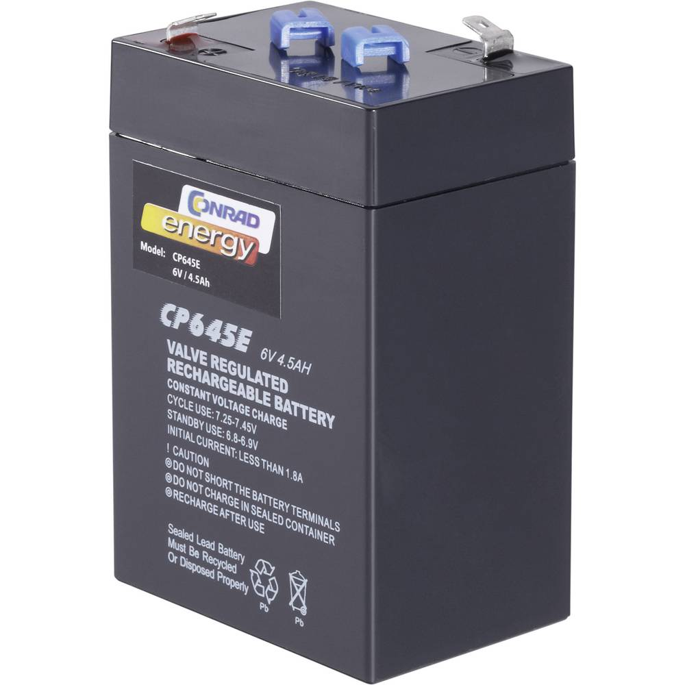 Svinčev akumulator 6 V 4.5 Ah Conrad energy CE6V/4,5Ah 250116 svinčevo-koprenast (AGM) 70 x 108 x 48 mm ploščati vtič 4.8 mm