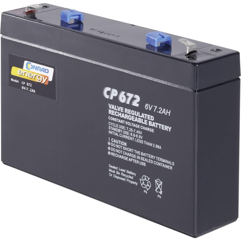 Svinčev akumulator 6 V 7 Ah Conrad energy CE6V/7Ah 250129 svinčevo-koprenast (AGM) 151 x 94 x 34 mm ploščati vtič 4.8 mm