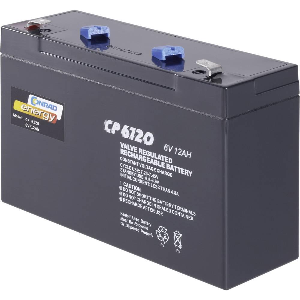 Svinčev akumulator 6 V 12 Ah Conrad energy CE6V/12Ah 250153 svinčevo-koprenast (AGM) 151 x 94 x 50 mm ploščati vtič 6.35 mm