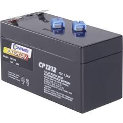 Svinčev akumulator 12 V 1.2 Ah Conrad energy CE12V/1,2Ah 250165 svinčevo-koprenast (AGM) 97 x 52 x 48 mm ploščati vtič 4.8 mm