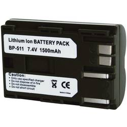 Kamerabatteri Conrad energy Ersättning originalbatteri BP-511, BP-512, BP-514 7.4 V 1400 mAh