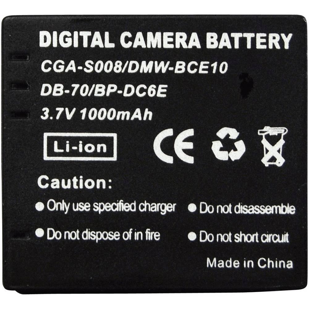 Akumulator za kamero Conrad energy nadomestek za originalni akumulator CGA-S008, DP-330, DMW-BCE10, DB-70, BP-DC6E 3.7 V 650 mAh