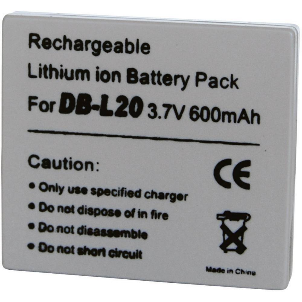Baterija za kameru Conrad energy 3.7 V 600 mAh zamjenjuje originalnu bateriju DB-L20