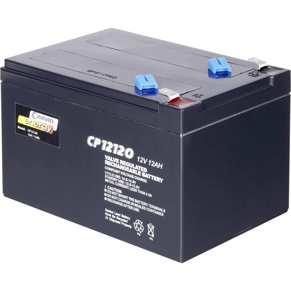 Svinčev akumulator 12 V 12 Ah Conrad energy CE12V/12Ah 250916 svinčevo-koprenast (AGM) 151 x 95 x 98 mm ploščati vtič 6.35 mm