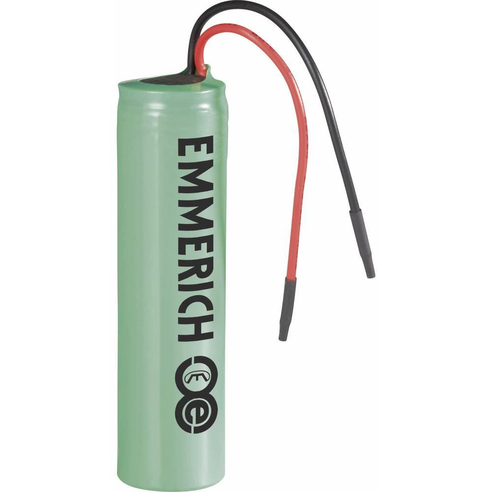 Litij-ionski akumulator s kablom Emmerich ICR-18650 NH-SP 3.7 V 2200 mAh (Ø x V) 18.4 mm x 70 mm 233973