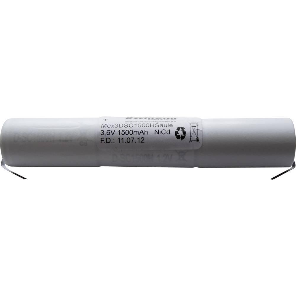 Baterija za razsvetljavo zasilne poti Beltrona, 1500 mAh, palica z U-jezičkom za spajkanje, 3, 6 V, MEX3DSC1500HSCLG