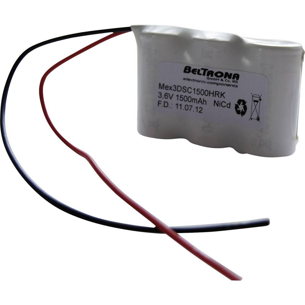 Beltrona Akumulator za zasilno razsvetljavo poti umika 1500 mAh s kabli 3.6 V MEX3DSC1500HRK 1500, niz s kabli