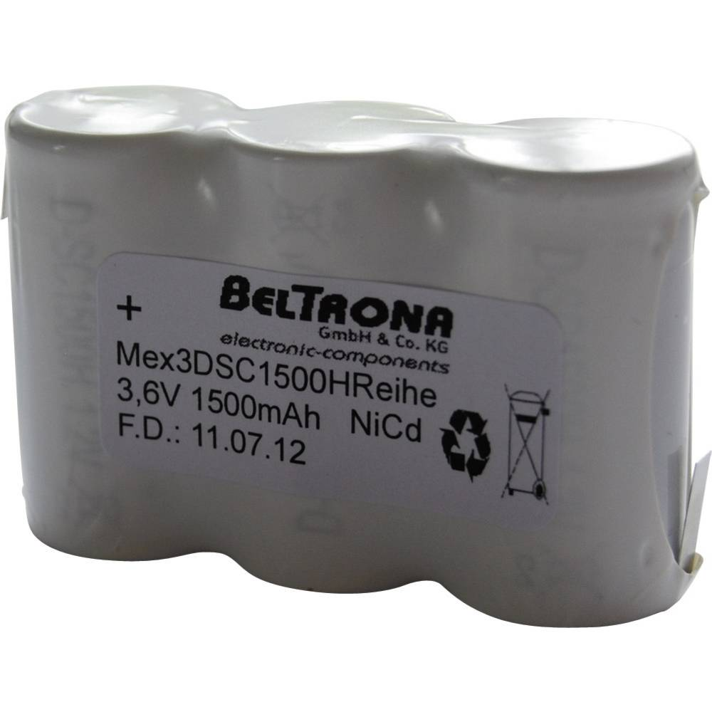 Beltrona Akumulator za zasilno razsvetljavo poti umika 1500 mAh z Z-spajkalnim priključkom 3.6 V MEX3DSC1500HRCLG 1500