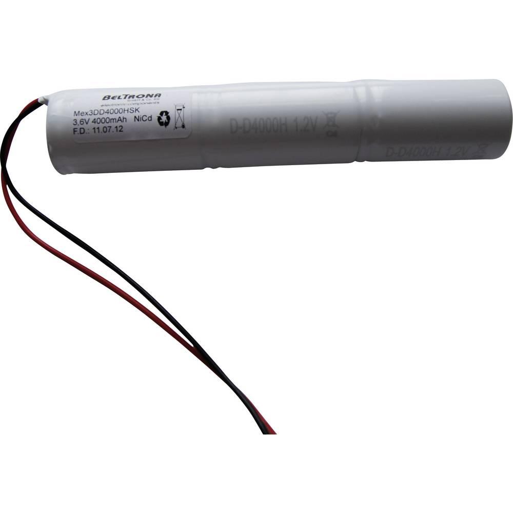 Baterija za rasvjetu sustava za hitan izlaz Beltrona 4000 mAh s kablovima 3.6 V MEX3DD4000HSK 4000, palica s kablovima