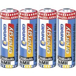Mignon (AA) foto akumulatorske baterije NiMH Conrad energy + škatla HR06 2600 mAh 1.2 V, 1 komplet Akku AA 2600